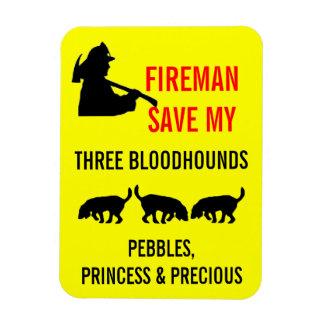 Fireman Save My Three Bloodhounds Fire Safety Rectangular Photo Magnet