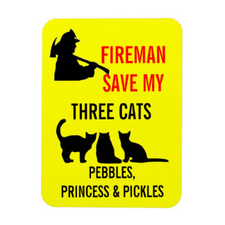 Fireman Save My Three Cats Safety Magnet