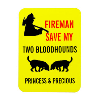 Fireman Save My Two Bloodhounds Fire Safety Rectangular Photo Magnet
