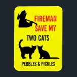 """Fireman Save My Two Cats Safety Magnet<br><div class=""""desc"""">This custom two cat fire safety notice is perfect for anyone who needs to protect their two cats from harm in the event of a fire.</div>"""