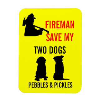 Fireman Save My TWO Dogs Rectangular Photo Magnet
