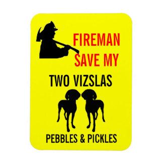 Fireman Save My Two Vizslas Safety Rectangular Photo Magnet