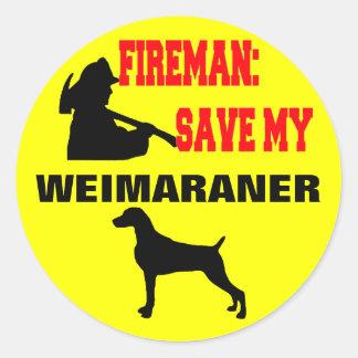Fireman Save My Weimaraner Classic Round Sticker