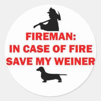 Fireman Save My Weiner Dog Joke Classic Round Sticker