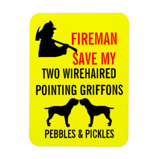 Fireman Save Two Wirehaired Pointing Griffons Magnet