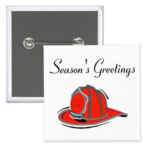 Fireman Seasons Greetings 2 Inch Square Button