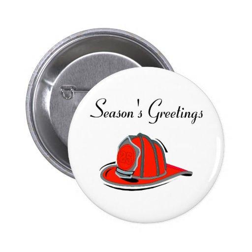 Fireman Seasons Greetings Buttons