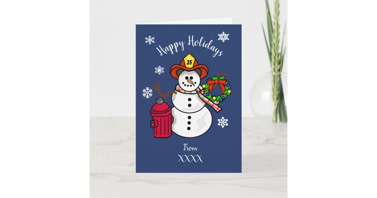 Fireman Snowman Christmas Card for Dept. or Person | Zazzle.com