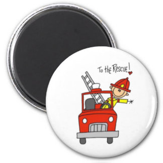 Fireman Stick Figure 2 Inch Round Magnet