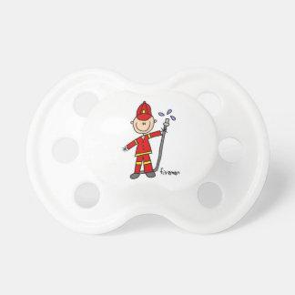 Fireman Stick Figure Baby Pacifier