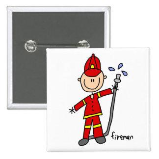 Fireman Stick Figure Pinback Button