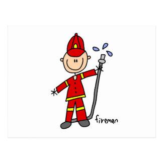 Fireman Stick Figure Postcard