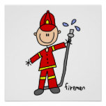 Fireman Stick Figure Print