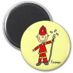 Fireman Stick Figure Refrigerator Magnets