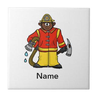 Fireman Trivet (Brown Skin)  Customize It! Tile