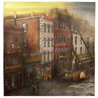 Fireman - Washington DC - Fire at Bedell's Bedding Cloth Napkin