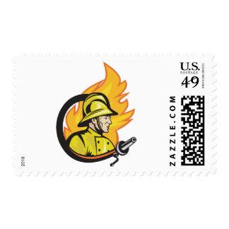 Fireman With A Hose Postage