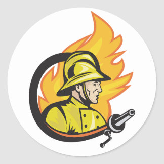 Fireman With A Hose Sitckers Classic Round Sticker