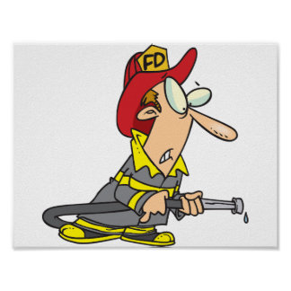Fireman With Dry Firehose Poster