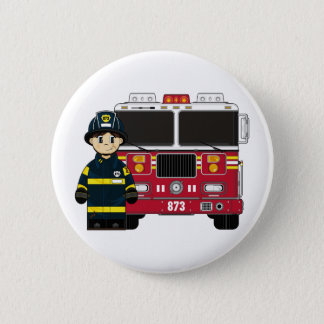 Fireman with Fire Engine Badge Pinback Button