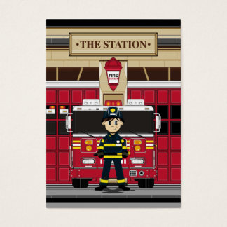 Fireman with Fire Engine Bookmark Business Card