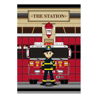 Fireman with Fire Engine Bookmark Large Business Card