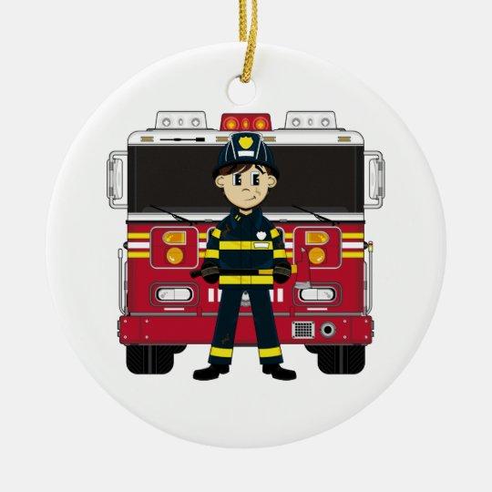 Fireman with Fire Engine Coaster Ceramic Ornament