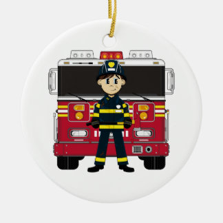 Fireman with Fire Engine Coaster Ornaments