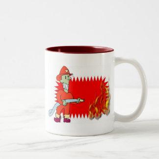 Fireman with flames mug