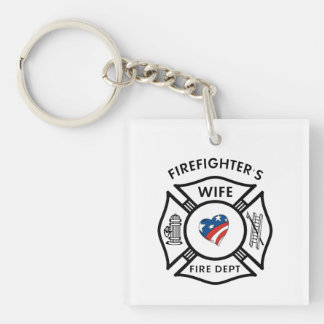 Fireman Wives Double-Sided Square Acrylic Keychain