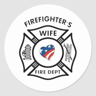 Fireman Wives USA Classic Round Sticker