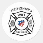 Fireman Wives USA Round Sticker