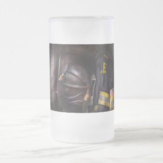 Fireman - Worn and used Frosted Glass Beer Mug
