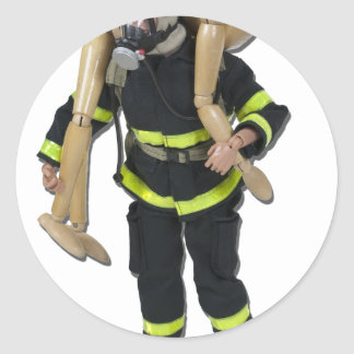 FiremanCarryPerson042911 Classic Round Sticker