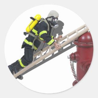 FiremanLadderHydrant050512.png Classic Round Sticker