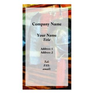 Fireman's Helmet and Jacket Business Card Template