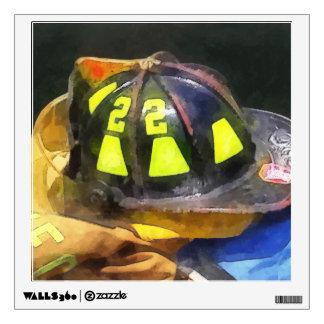 Fireman's Helmet on Uniform Wall Sticker