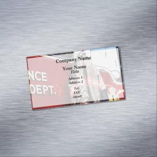 Fireman's Jacket On Fire Truck Business Card Magnet