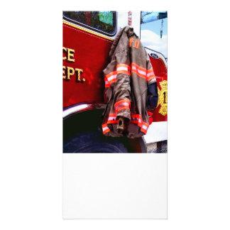 Fireman's Jacket On Fire Truck Card