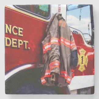 Fireman's Jacket On Fire Truck Stone Coaster