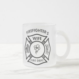 Fireman's Wife Frosted Glass Coffee Mug