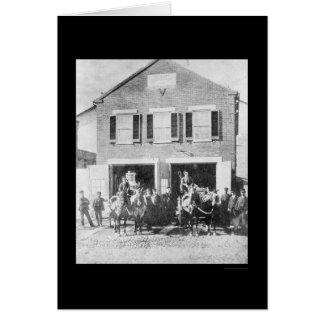 Firemen and Equipment in Front of Firehouse 1912 Greeting Cards