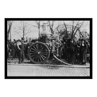 Firemen and Their Fire Engine 1910 Print