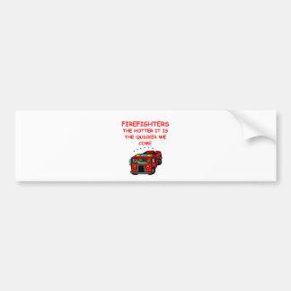 firemen car bumper sticker