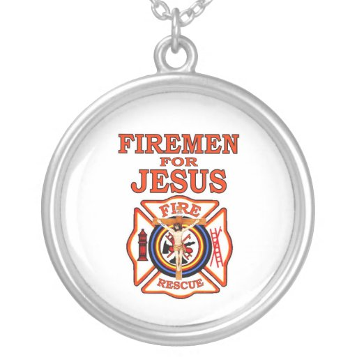 FIREMEN FOR JESUS ROUND PENDANT NECKLACE
