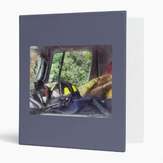 Firemen - Helmet Inside Cab of Fire Truck 3 Ring Binder