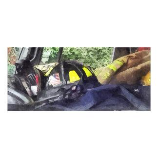 Firemen - Helmet Inside Cab of Fire Truck Rack Card