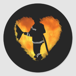 Firemen Love Flames Classic Round Sticker