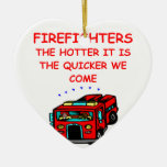 firemen Double-Sided heart ceramic christmas ornament