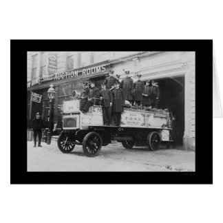 Firemen Posed on Fire Engine in New York City 1912 Card